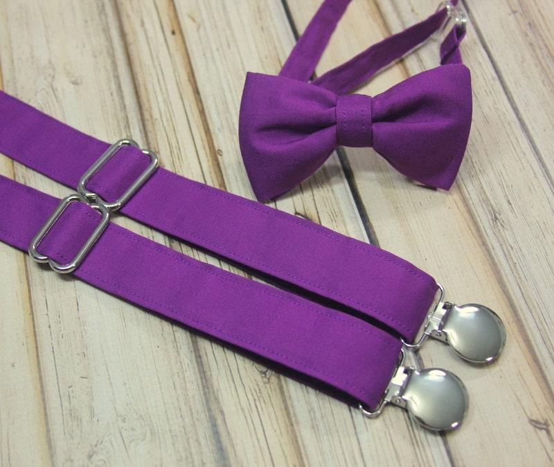 22cc5c402999 Solid Dark Violet Purple Bow Tie and Suspenders set Men | Etsy