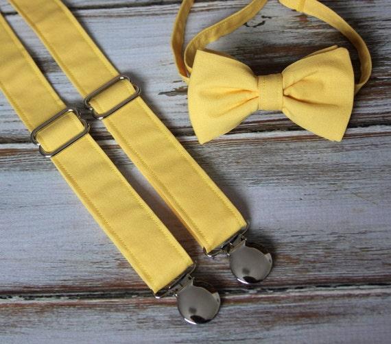 nuovo stile e lusso goditi la spedizione gratuita qualità e quantità assicurate Papillon tinta giallo e bretella vestito insieme (uomini, ragazzi, bambini,  bambino, infante)