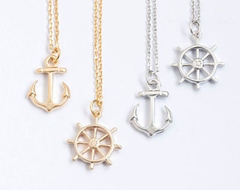 Tiny Nautical Charm Necklace, Anchor / Ship Wheel Helm / Gold / Silver Opton, Whimsical Sea Life Jewelries, lj ej