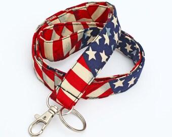 Patriotic Lanyard, ID Lanyards, Badge Neck Strap, Fabric ID Lanyard, Red White Stripes Blue - American flag red blue