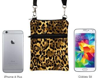 iPhone 8 Shoulder Bag, Mini Travel Purse, Phone Sling Purse, Leopard Print Samsung S8 bag, Small Crossbody Travel Bag - cheetah