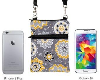 Phone Zipper Bag, Small Cross Body Travel Purse, Women's iPhone 8 Plus Shoulder Bag, Samsung Galaxy S8 Sling Bag - gray black yellow floral