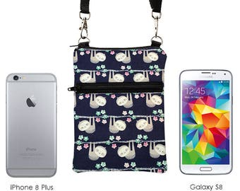 iPhone 8 Plus Bag, Cute Samsung S8 Purse, Cell Phone Crossbody, Animal Small Travel Bag - little sloths in navy blue