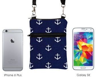 Nautical iPhone 8 Plus Sling Bag, Samsung Galaxy S8 Crossbody, Cell Phone Purse, Small Travel Cross Body Bag - navy blue white anchors
