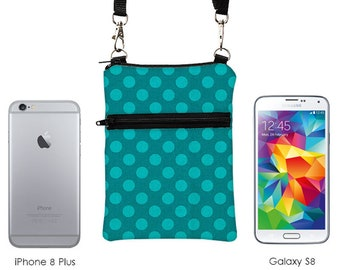 Travel Cell Phone Purse, Small Cross Body Bag for Passport, Sling Bag fits iPhone 8 Plus, Samsung Galaxy Crossbody - teal blue dots