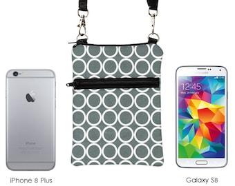 Smartphone Zipper Purse, iPhone 8 Zipper Shoulder Bag, Samsung S8 Sling Bag, Phone Case, Mini Crossbody Travel Bag  - white circles in gray