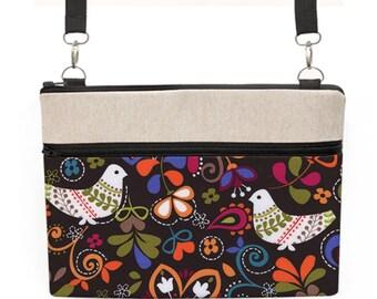 "MacBook Air 13"" Laptop, iPad Pro Floral Bag, 15"" Laptop Crossbody, Surface Zipper Bag, Women Laptop Zipper Case - birds and flowers in brown"
