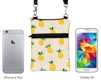 iPhone 8 Plus Zip Shoulder Bag, Galaxy S8 Crossbody Bag, Padded Phone Case, Smartphone Zipper Purse, Phone Case with Strap - pineapple fruit