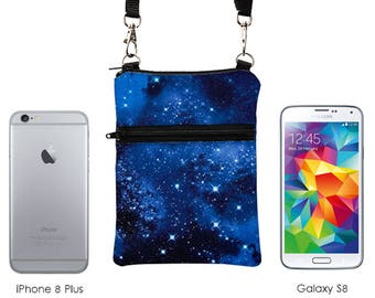 iPhone 6 Plus Sling Bag, Samsung Note 5 Crossbody, Smartphone Purse, Cell Phone Purse, Small Cross Body Bag  - night sky with stars