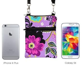 Samsung Galaxy S8 Purse, Phone Crossbody, iPhone 8 Plus Crossbody Bag, Travel Cross Body Bag - purple, lime, turquoise flowers