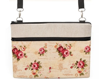 "Women's Laptop Tote Bag, Macbook 15"" Shoulder Bag, Vintage MacBook 12"" Case, iPad Pro 10.5"" Crossbody Bag - shabby chic rose script"