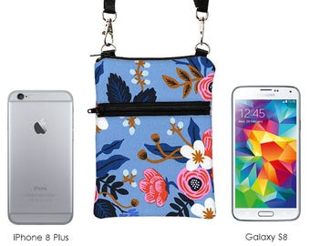 iPhone 8 Plus Bag, Phone Shoulder Bag, Floral Phone Zip Bag, Smartphone Zipper Purse, Women's Travel Sling Bag - coral red flowers in blue