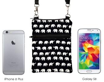 Elephant Travel Purse, iPhone 8 Plus Sling Purse, Galaxy S8 Phone Shoulder Bag, Phone Cross Bodybag - white elephants marching in black
