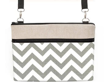 "Macbook Air 11"" Shoulder Bag, Lenovo Yoga 700 14"" Sling Bag, MacBook 12"" Crossbody, Asus Laptop Padded Purse - ash grey white chevron"