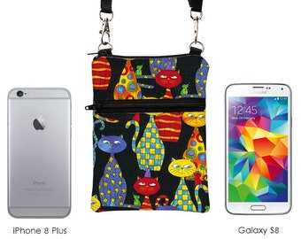 Small Travel Bag, Cats Smartphone Pouch, Samsung Galaxy S8 Purse, iPhone Crossbody, Passport Zipper Shoulder Bag - colorful cats in black