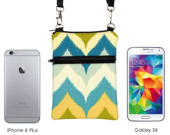Shoulder Bag, Samsung S8, iPhone 8 Plus, Mini Crossbody Bag, Small Camera Purse, Cell Phone Purse, Small Cross Body - blue yellow chevron
