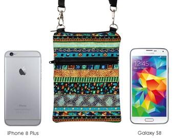 Boho Travel Bag, Smartphone Crossbody Bag, Phone Sling Pouch, Passport Purse, iPhone 8 Zip Shoulder Bag  - blue green gold bohemian stripes