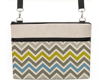 "MacBook Pro 13"" Purse, Dell XPS Shoulder Bag, iPad Pro 9.7""  Messenger Bag, Padded Laptop Crossbody - blue, citrine, gray chevron stripes"