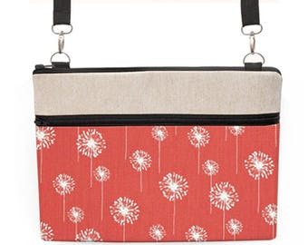 "Floral MacBook Crossbody, iPad Pro 12.9 Shoulder Bag, Padded MacBook Pro 13"" Case, Women's Laptop Tote Bag - white dandelion in coral red"