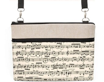 "MacBook 15"" Crossbody Bag, Music iPad Pro 12.9"" Sleeve, Laptop Shoulder Bag, Lenovo Padded Tote Bag, HP Laptop Protective Bag - music notes"