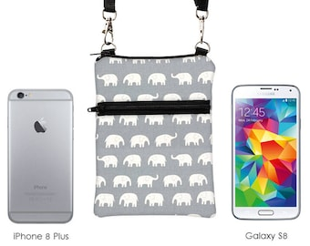 Cute Travel Purse, iPhone 8 Sling Purse, Samsung S8 bag, Small Animal Cross Body Bag, Passport Bag - white elephants marching in beige/gray