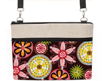 "Floral Laptop Shoulder Bag, MacBook Tote Bag, Padded iPad Pro 10.5"" Crossbody, Women's HP Crossbody Bag - pink vibrant carnival blooms"