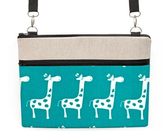 "iPad Pro 10.5"" Bag, MacBook Crossbody, Laptop Messenger Bag, MacBook Air 11"" Tote, Padded Asus Zipper Bag - white giraffes in turquoise teal"