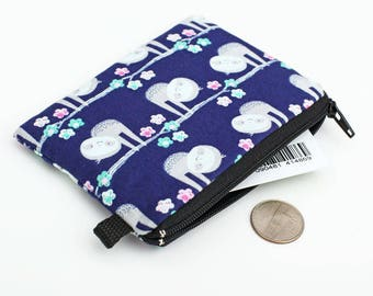 Meditating Sloth Pattern Canvas Change Coin Purse Retro Wallet Bag With Zip