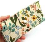 Botanical Long Wallet, Women 39 s Flower Wallet, Fabric Travel Wallet, Bifold Passport Wallet, Foliage Large Wallet - herb garden in beige