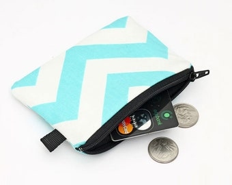 Zipper Coin Purses aqua blue and white chevron stripes Small Makeup Pouch Blue Credit Card Wallet Aqua Coin Purse Nautical Zip Wallet