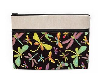 "Women's Laptop Case, iPad Pro 12.9"" Sleeve, Macbook 13 Bag, Padded Laptop Case, Lenovo Laptop Cover - green purple gold dragonflies in black"