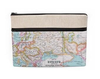 "Travel Laptop Case, Macbook Pro 13"" Sleeve, 12"" iPad Pro Zipper Case, Lenovo Laptop Cover, Mac Pro 15 Retina Bag - color world map"