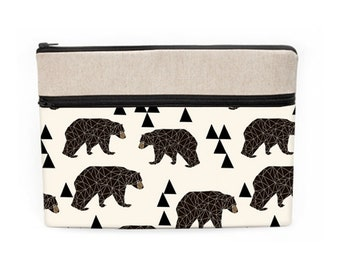 """Brown Bears iPad Pro 10.5 Sleeve, Woodland MacBook Pro 13"""" Zipper Case, Dell Padded Cover, Animal Laptop Sleeve - bears triangles in cream"""