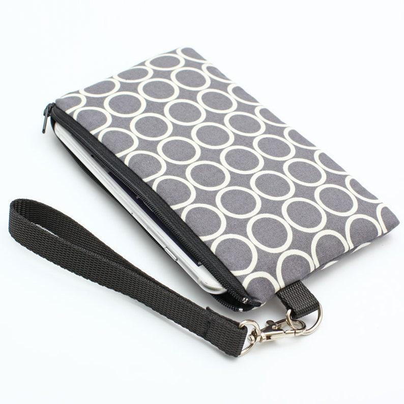 free shipping 2e87e a456f Women's Clutch Wallet, iPhone 8 Plus Clutch, Smartphone Wristlet Bag, Vegan  Clutch Wallet, Fabric Makeup Pouch - white circles in grey
