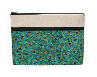 """iPad Pro 10.5"""" Cover, MacBook Pro 13"""" Sleeve, Custom Laptop Zipper Case, Dell Laptop Sleeve, Padded Laptop Bag - green gold peacock feathers"""