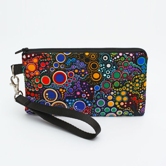 competitive price 7cf12 2dfa2 Women's Clutch Wallet, iPhone 8 Plus Clutch, Smartphone Wristlet Bag, Vegan  Clutch Wallet, Fabric Makeup Pouch - colorful dots and circles