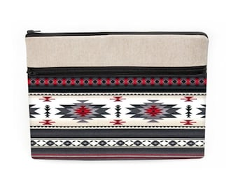 Southwestern Laptop Sleeve, Fabric Macbook Case, Padded iPad Pro Cover, Tribal Dell Laptop Bag - gray red white Aztec Navajo