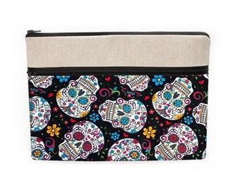 "MacBook Air 13"" Sleeve, iPad Pro 12.9 Protective Cover, Dia de los Muertos Laptop Zipper Case - colorful sugar skulls and flowers in black"