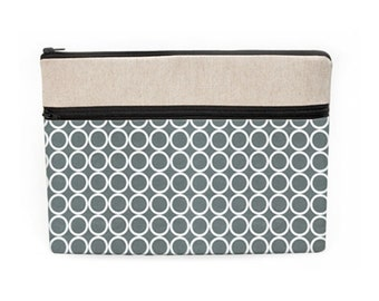 """Macbook Air 13"""" Sleeve, Fabric Laptop Sleeves, Unisex iPad Pro Case, Padded Laptop Zipper Bag, HP Laptop Cover - white circles in gray"""