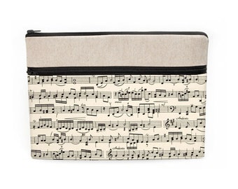 """Music Laptop Sleeve, iPad Pro 10.5"""" Case, Macbook Air 13"""" Bag, Custom Laptop Cases, Soft Fabric Computer Bags - black and cream music notes"""