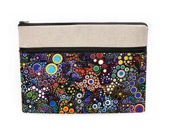 """MacBook 13"""" Case, iPad Pro 12.9"""" Sleeve, Slim Dell Laptop Bag, Padded Laptop Covers, Women's Laptop Sleeves - colorful dots circles in black"""