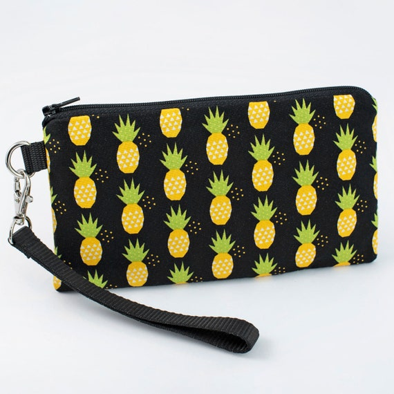 Smartphone Wristlet Purse yellow pineapples in black Pineapple Wristlet Wallet Padded Cell Phone Wristlet iPhone 8 Plus Clutch