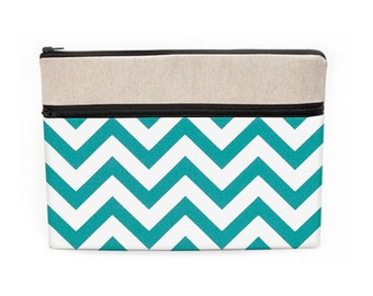 """10.5"""" iPad Pro Sleeve, Macbook 13"""" Case, Dell Laptop Bag, Macbook Pro 15"""" Zipper Case, HP Laptop Cover - turquoise and white chevron"""