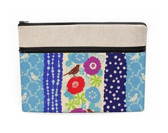 "Floral MacBook 12"" Cover, Women's Laptop Case, iPad Pro 9.7"" Sleeve, Zipper Laptop Pouch, Dell Laptop Case - birds and flowers in blue"