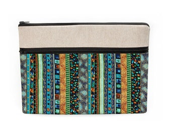 """Hippie Macbook Air 13"""" Sleeve, Padded Dell Laptop Case, iPad Pro 12.9""""Cover, Lenovo Laptop Fabric Case - blue gold boho stripes"""