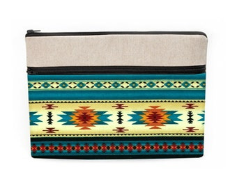 """Tribal Laptop Sleeve, Fabric Macbook Pro Cases, iPad Pro 10.5"""" Protective Pouch, Surface Laptop Cover - turquoise orange cream Aztec Navajo"""