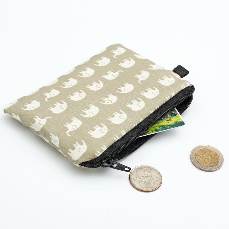 96d9f65019b6 Elephant Kids Zip Purse, Mini Travel Zip Pouch, Little Coin Purse, Small  Zipper Pouch, Padded Change Purse - white elephants in beige
