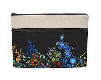"""MacBook Air Sleeve, Vibrant Laptop Sleeves, iPad Pro 10.5"""" Cover, Padded Asus Case, Fabric Dell Laptop Case - colorful dots circles in black"""
