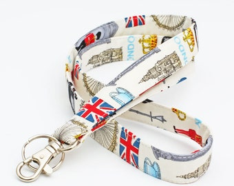 Cute Fabric ID Holder, UK Theme Lanyard, London Keychain, Fabric Neck Strap, English Teacher's ID lanyard - red blue London icons
