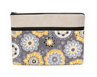 """Woman's Laptop Sleeve, Padded Macbook Cases, iPad Pro 10.5"""" Floral Pouch, Dell Laptop Case, Zipper Laptop Cover - gray white yellow floral"""